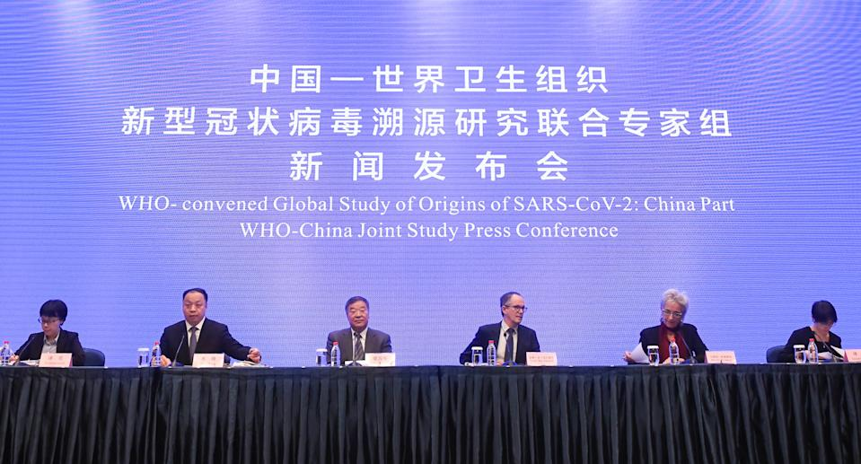 WUHAN, Feb. 9, 2021 -- Photo taken on Feb. 9, 2021 shows a scene of the WHO-China joint study press conference in Wuhan, central China's Hubei Province. (Photo by Cheng Min/Xinhua via Getty) (Xinhua/Cheng Min via Getty Images)
