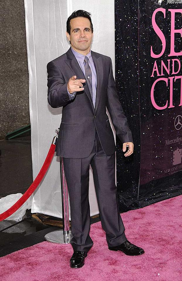 "Funnyman Mario Cantone, known to ""SATC"" fans as Charlotte's former wedding planner Anthony, was dapper in a gray sharkskin suit. Dimitrios Kambouris/<a href=""http://www.wireimage.com"" target=""new"">WireImage.com</a> - May 27, 2008"