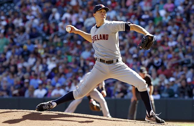 Cleveland Indians starting pitcher Ubaldo Jimenez delivers to the Minnesota Twins during the third inning of a baseball game in Minneapolis, Sunday, Sept. 29, 2013. (AP Photo/Ann Heisenfelt)
