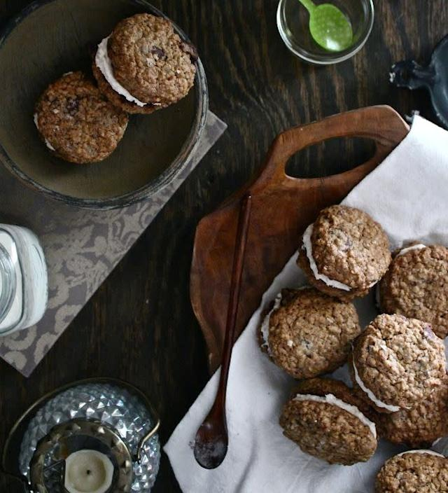 <strong>Get the <span>Chocolate Chunk Oatmeal Cream Pies With Cinnamon Cream And Sea Salt recipe</span>from Harvest & Honey</strong>