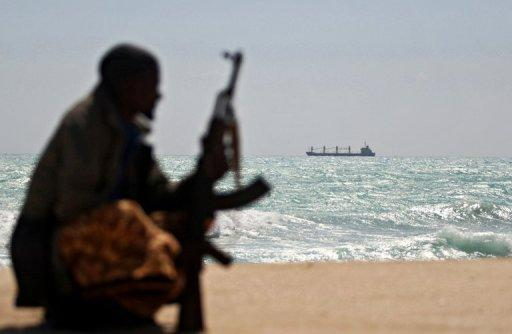 Greek cargo ship MV Filitsa pictured on January 7, 2010 at anchor where pirates were holding it off Somalia's Hobyo town