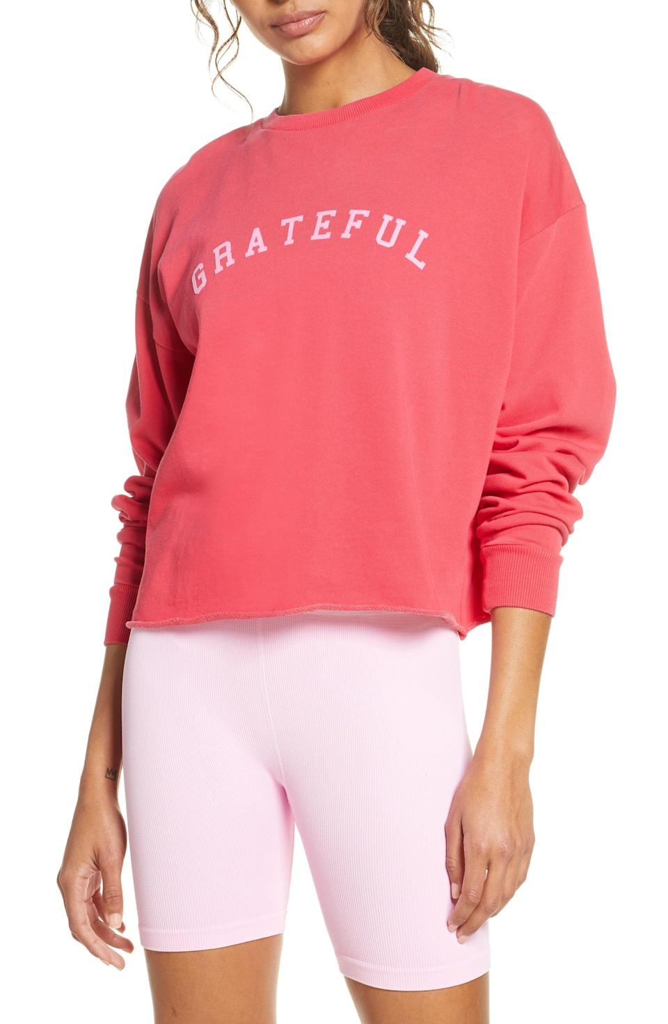 """<p><strong>Spiritual Gangster</strong></p><p>nordstrom.com</p><p><strong>$78.00</strong></p><p><a href=""""https://go.redirectingat.com?id=74968X1596630&url=https%3A%2F%2Fwww.nordstrom.com%2Fs%2Fspiritual-gangster-grateful-mazzy-sweatshirt%2F5595844&sref=https%3A%2F%2Fwww.womenshealthmag.com%2Ffitness%2Fg19990274%2Fgifts-for-fitness-fanatics%2F"""" rel=""""nofollow noopener"""" target=""""_blank"""" data-ylk=""""slk:Shop Now"""" class=""""link rapid-noclick-resp"""">Shop Now</a></p><p>Your loved one is sure to be grateful for this ultra-cozy sweatshirt that's perfect for throwing on post-gym or fitness class. Check out the rest of the gear from the <a href=""""https://www.nordstrom.com/brands/spiritual-gangster--11319?origin=productBrandLink"""" rel=""""nofollow noopener"""" target=""""_blank"""" data-ylk=""""slk:brand's collection"""" class=""""link rapid-noclick-resp"""">brand's collection</a> for extra gifting inspo. </p>"""