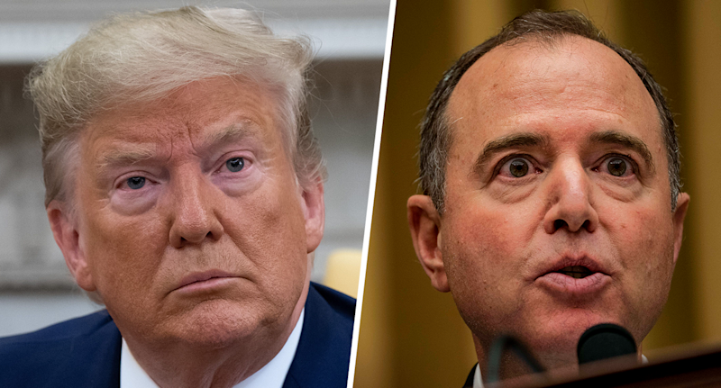 President Trump; House Intelligence Committee Chairman Adam Schiff. (Photos: Saul Loeb/AFP/Getty Images; Melina Mara/the Washington Post via Getty Images)