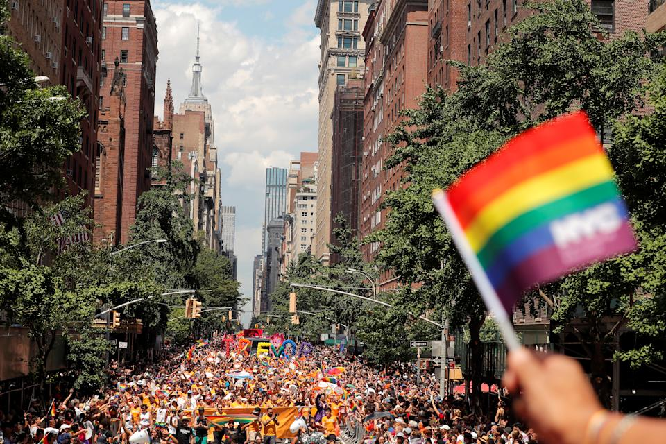 People march down 5th Avenue in Manhattan during the 2019 World Pride NYC and Stonewall 50th LGBTQ Pride parade in New York, on June 30, 2019. REUTERS/Lucas Jackson