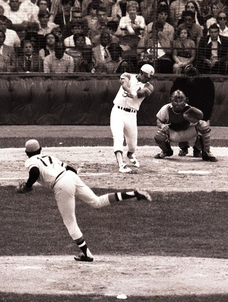 Reggie Jackson, of the Oakland Athletics, hits a two-run home run in the third inning in the All-Star Game on July 13, 1971 at Tiger Stadium in Detroit. National League pitcher Dock Ellis of the Pittsburgh Pirates was pitching to catcher Johnny Bench, of the Cincinnati Reds.