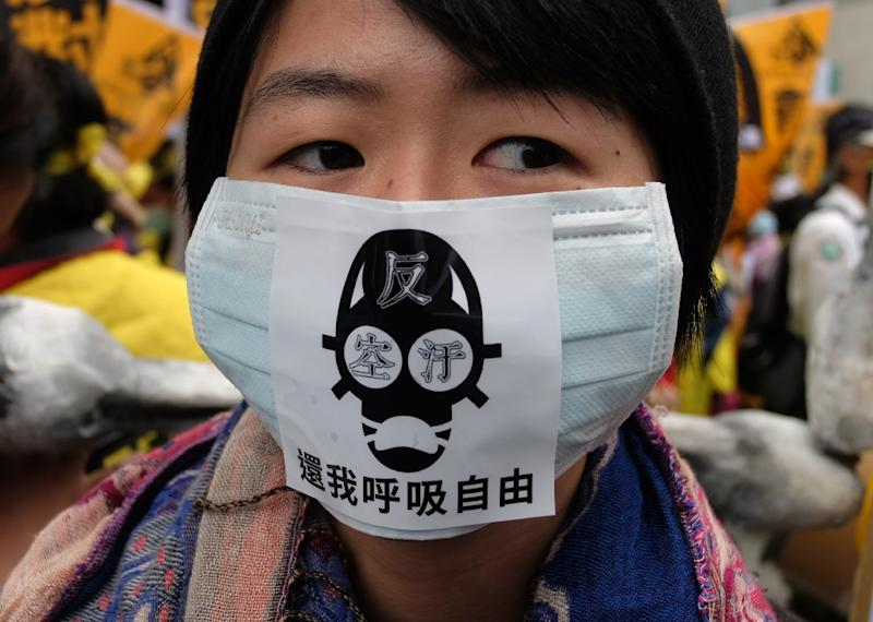 A protester wears a anti-air pollution mask during a demonstration in Taipei on December 26, 2015