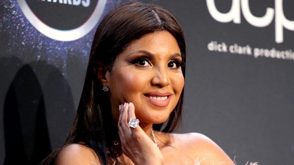 Award-winning singer Toni Braxton, 53, unveiled her bald head and fit physique Sunday on Instagram. (Photo by Rich Fury/Getty Images)