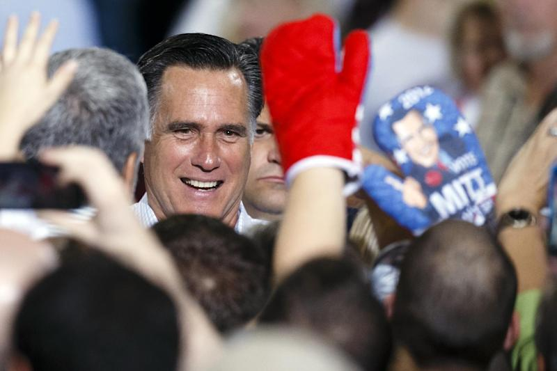 Republican presidential candidate former Massachusetts Gov. Mitt Romney greets supporters after a speech at The Seagate Center in Toledo, Ohio, Wednesday, Sept. 26, 2012, during a campaign stop. (AP Photo/Rick Osentoski)