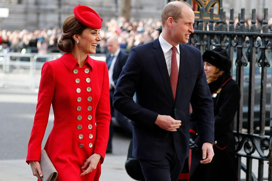 Britain's Kate, the Duchess of Cambridge and Britain's Prince William arrive to attend the Commonwealth Service at Westminster Abbey on Commonwealth Day in London. (Image: AP)
