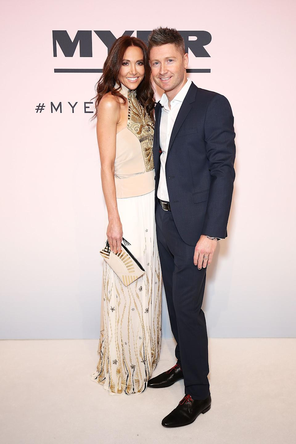 Kyly Clarke and Michael Clarke arrive ahead of the Myer Spring 16 Fashion Launch at Hordern Pavilion on August 23, 2016 in Sydney, Australia.