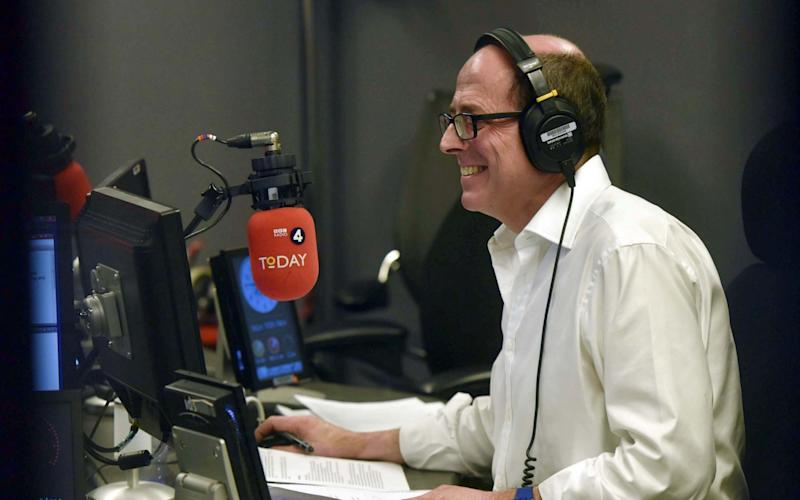 Nick Robinson in the Today studio - Credit: Jeff Overs/BBC/PA