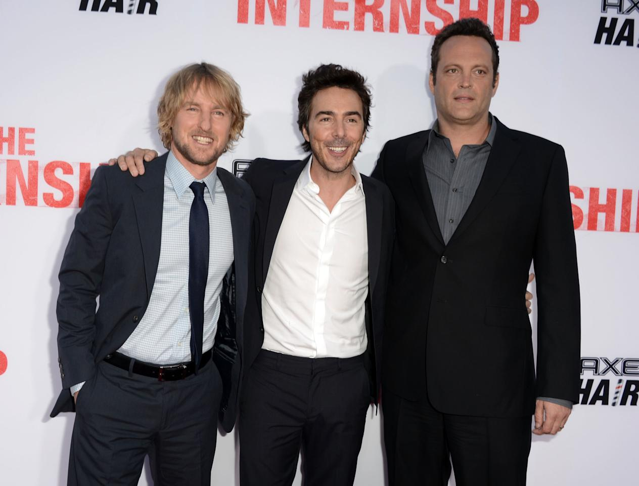 "WESTWOOD, CA - MAY 29: Actor Owen Wilson (L) director Shawn Levy, and writer/actor Vince Vaughn arrive at the premiere of Twentieth Century Fox's ""The Internship"" at Regency Village Theatre on May 29, 2013 in Westwood, California. (Photo by Kevin Winter/Getty Images)"