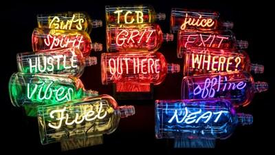NEON In A Bottle, created by Neon Queen Lisa Schulte, part of the Bulleit-inspired NEON Collection, for sale exclusively via Saatchi Art.