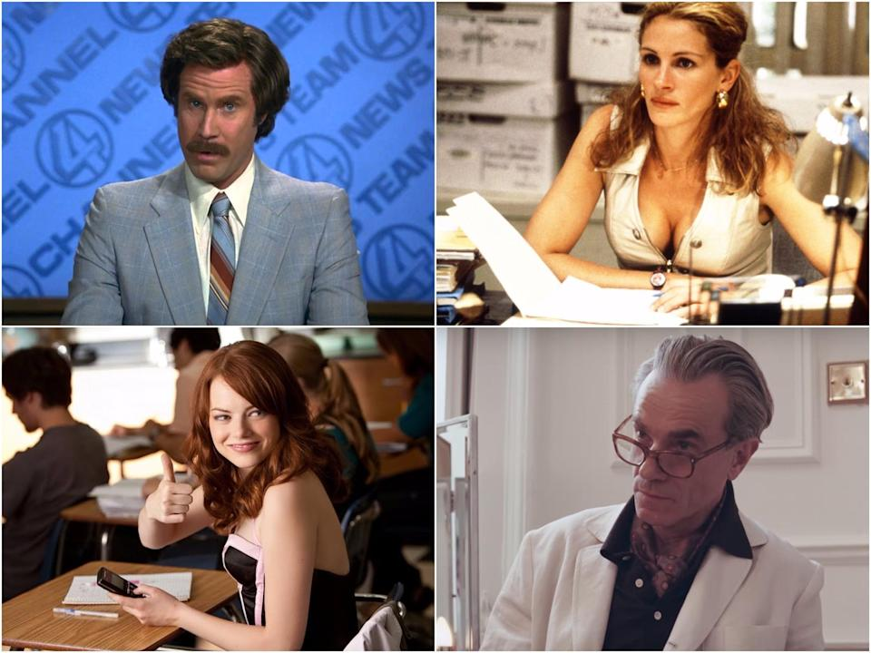 Clockwise from top left: Will Ferrell in 'Anchorman', Julia Robert in 'Erin Brockovich', Daniel Day Lewis in 'Phantom Thread' and Emma Stone in 'Easy A'