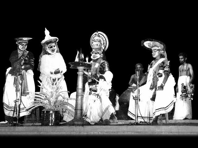 <p>Also called koodiyattam, Kuttiyattam is the oldest performing art form of Kerala. Kuttiyattam, which is performed in Sanskrit, combines elements of drama and Koothu, a Tamil/Malayalam art from the Sangam era.<br />Kuttiyattam requires sophisticated breathing control and muscle movement and exponents take 10-15 years to master it. The art form is traditionally performed in the <em>koothambalams</em> or temple theatres, in Kerala and a single performance can take up to 40 days to complete.<br />Kuttiyattam was inscribed on to the list in 2008. <br /><em><br />Image credit: By</em>Sreekanthv<em> at the English language Wikipedia, CC BY-SA 3.0, https://commons.wikimedia.org/w/index.php?curid=12135078</em> </p>
