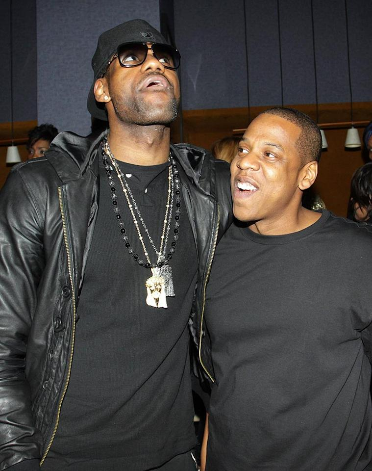 "Since LeBron will become a free agent at the end of this season, there is speculation that next year he could wind up wearing a Knicks jersey. Perhaps Jay-Z is getting the Cleveland Cavaliers forward into an ""Empire State of Mind""? Johnny Nunez/<a href=""http://www.wireimage.com"" target=""new"">WireImage.com</a> - March 2, 2010"