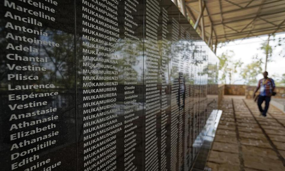 Names of genocide victims on a wall outside a church in Ntarama, Rwanda