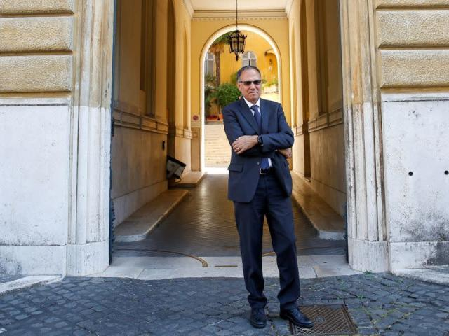 President of the Vatican's Financial Information Authority (AIF) Carmelo Barbagallo poses after an interview
