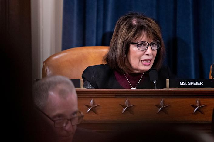 Representative Jackie Speier, a Democrat from California, questions witnesses during a House Intelligence Committee impeachment inquiry hearing on Capitol Hill November 21, 2019, in Washington, D.C. (Photo: Andrew Harrer-Pool/Getty Images)