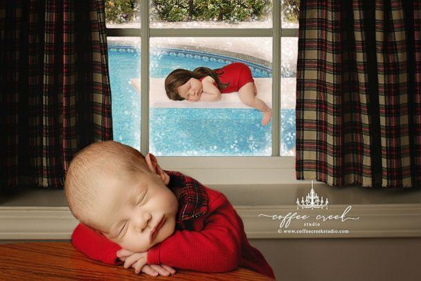 PHOTO: A photographer posed newborns in scenes from the movie 'Christmas Vacation.' (Coffee Creek Studio/Amy Haehl)