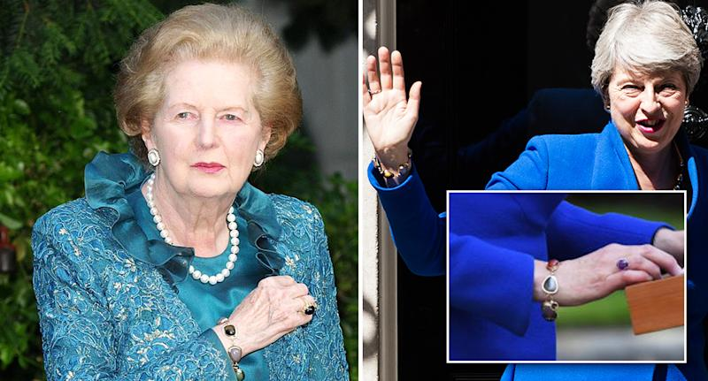 Margaret Thatcher (left) and Theresa May (right) wearing gemstone bracelets – but are they the same? [Photo: Getty]