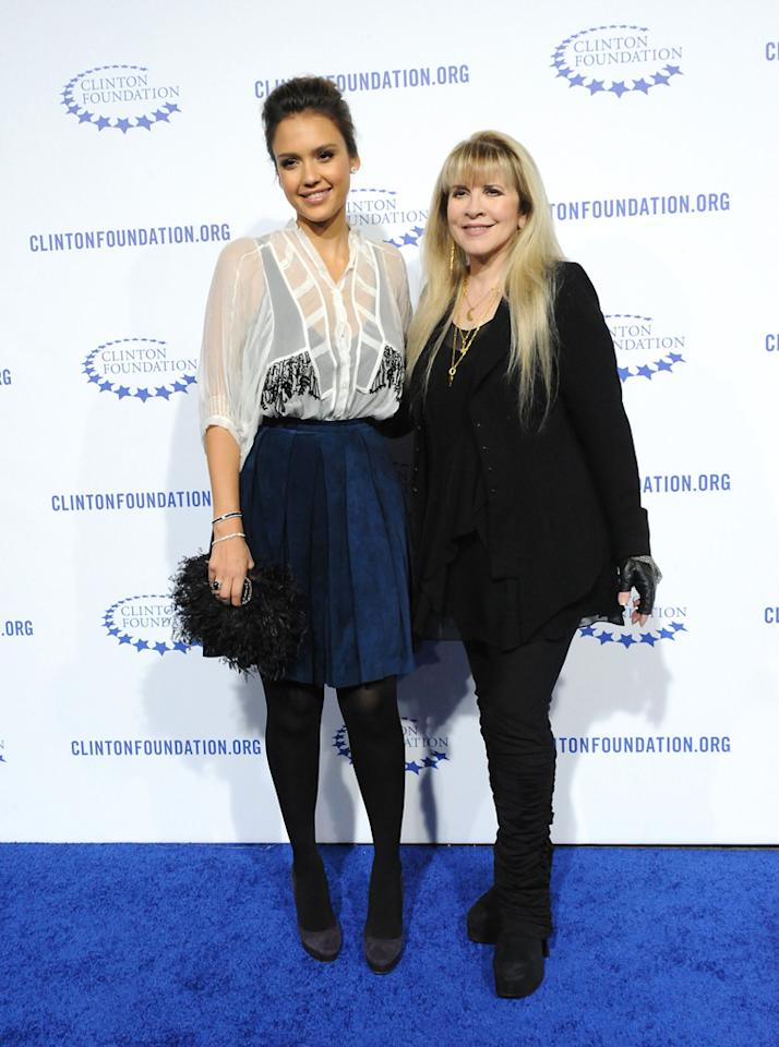 Jessica Alba (L) and Stevie Nicks arrive at President Clinton's 65th Birthday Gala on October 14, 2011, in Hollywood, California. <br><br>(Photo by Stephanie Cabral/Yahoo!)