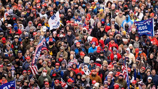 PHOTO: Supporters of President Donald Trump rally in Washington in the hours before the Capitol was invaded by a mob, on Jan. 6, 2021. (Pete Marovich/The New York Times via Redux)