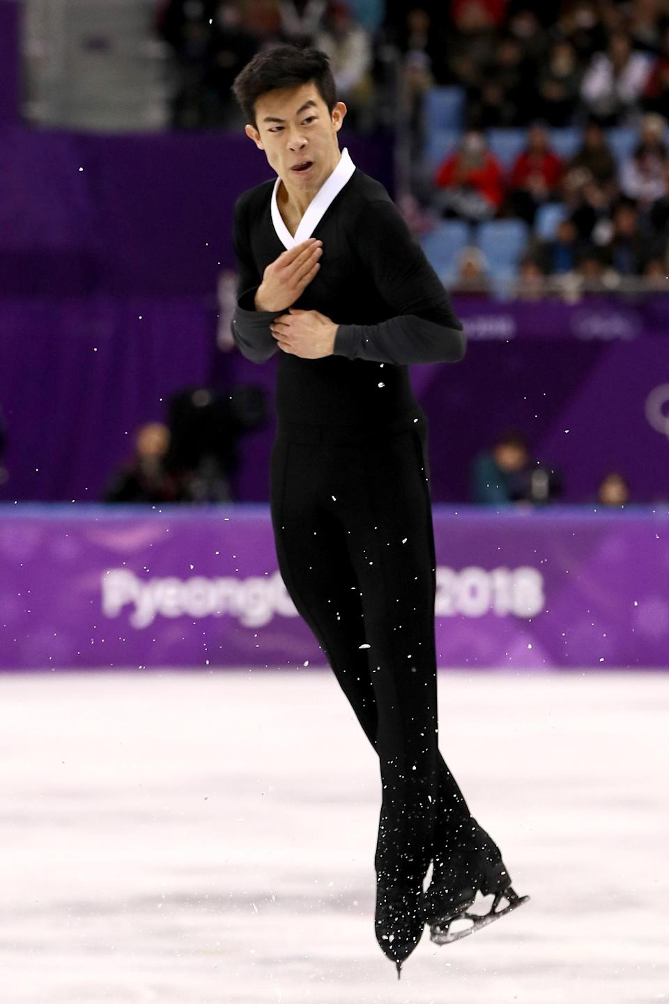 <p>American Nathan Chen attempted a record six quadruple jumps in his free skate routine in PyeongChang, South Korea, landing five of them clean. </p>