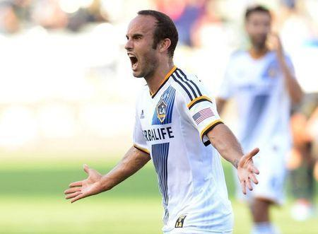 May 25, 2014; Carson, CA, USA; Los Angeles Galaxy forward Landon Donovan (10) reacts after scoring his 136th MLS goal in the second half of the game against the Philadelphia Union at StubHub Center. Galaxy won 3-1. Mandatory Credit: Jayne Kamin-Oncea-USA TODAY Sports