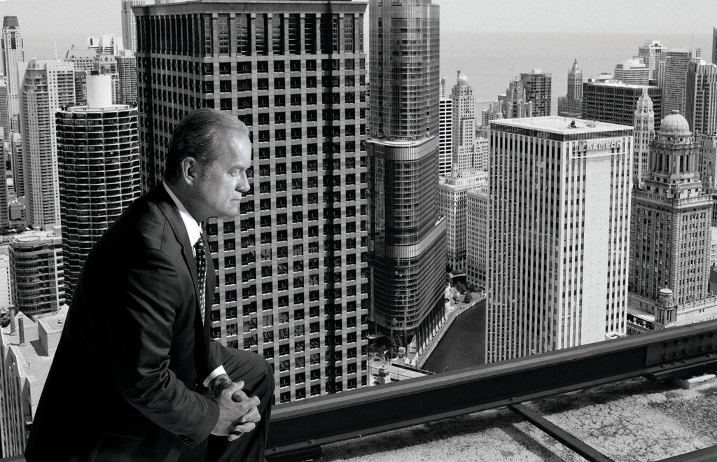 The new 'BOSS' of Chicago, Mayor Tom Kane (portrayed by Golden Globe winner Kelsey Grammer), looks out at the changing Chicago skyline in an image modeled after the iconic 1966 photograph of former Chicago Mayor Richard J. Daley.