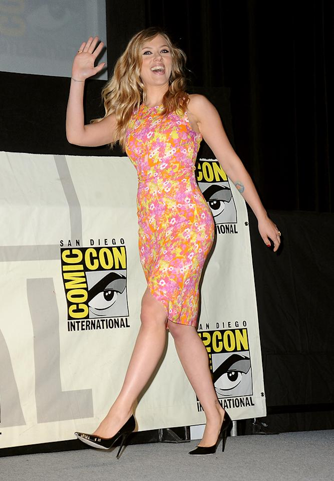 """SAN DIEGO, CA - JULY 20:  Actress Scarlett Johansson speaks onstage at Marvel Studios """"Thor: The Dark World"""" and """"Captain America: The Winter Soldier"""" during Comic-Con International 2013 at San Diego Convention Center on July 20, 2013 in San Diego, California.  (Photo by Albert L. Ortega/Getty Images)"""