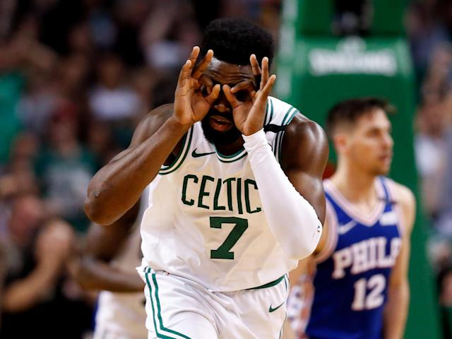 May 9, 2018; Boston, MA, USA; Boston Celtics guard Jaylen Brown (7) reacts after scoring against the Philadelphia 76ers during the second half in game five of the second round of the 2018 NBA Playoffs at the TD Garden. Mandatory Credit: Greg M. Cooper-USA TODAY Sports TPX IMAGES OF THE DAY