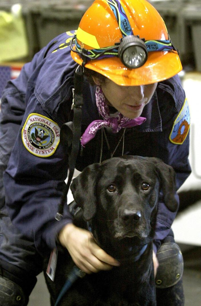 Mary Flood leashes her black Labrador retriever search and rescue dog, Jake, near the World Trade Center in New York in this Sept. 22, 2001 file photo. Jake, who helped search the rubble following the Sept. 11 attacks and later worked in Mississippi following Hurricane Katrina, died Wednesday, July 25, 2007. The results of an autopsy on his cancer-riddled body are part of a University of Pennsylvania medical study of Sept. 11 search-and-rescue dogs. (AP Photo/Alan Diaz, File)