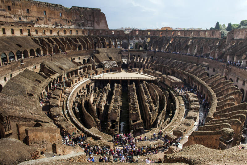 ROME, ITALY - OCTOBER 8: The inside of the Colosseum is seen on October 8, 2013 in Rome, Italy. The plan to restore Rome's nearly 2,000-year-old Colosseum which attracts up to two million visitors a year, is due to go ahead in March and will involve cleaning of the travertine exterior, the restoration of underground chambers, new gating, the moving of visitor service stations to an area outside of the building itself and increased video security. The current $33 million (25 million euro) restoration plans to restore the Flavian amphitheater, which once hosted spectacular shows and gruesome gladiator battles, are being sponsored by Diego della Valle, of luxury Italian brand Tod's. (Photo By Marco Di Lauro/Getty Images)