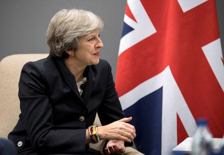 Britain's PM Theresa May meets with her Swedish counterpart Stefan Lofven at Gothia Towers Hotel on the eve of the EU Social Summit for Fair Jobs and Growth in Gothenburg