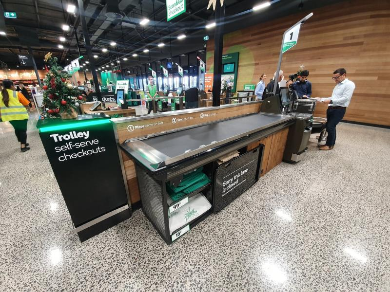 Picture of the new self-serve checkout for trolley's at the Millers Junction Woolworths store.