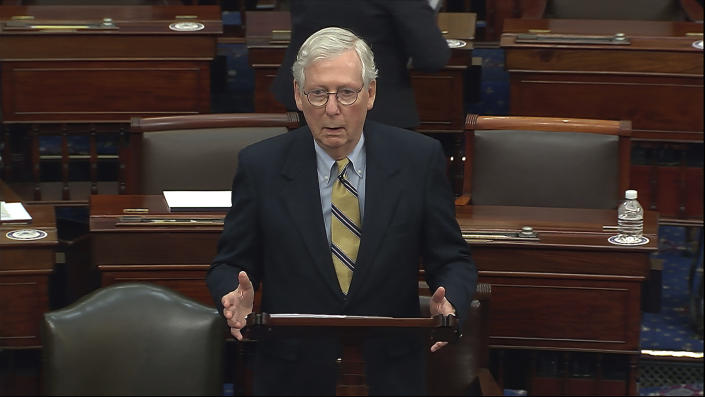 Senate Minority Leader Mitch McConnell of Ky., speaks after the Senate acquitted former President Donald Trump in his second impeachment trial in the Senate at the U.S. Capitol in Washington, Saturday, Feb. 13, 2021. (Senate Television via AP)
