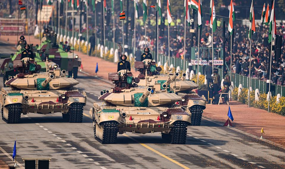 New Delhi: Indian armed forces T-90 tanks pass Rajpath, during the 72nd Republic Day celebrations in New Delhi, Tuesday, Jan. 26, 2021.