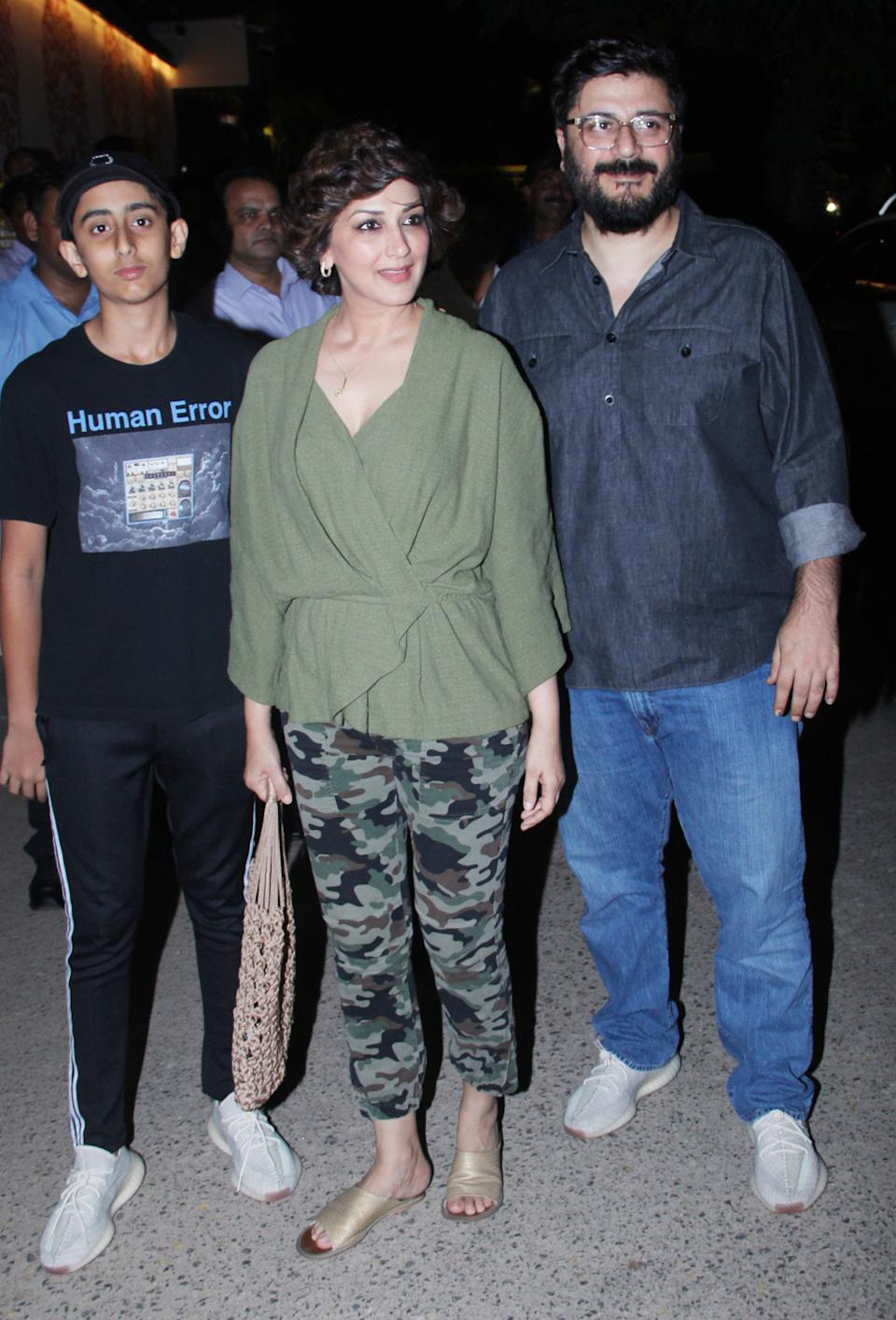 Sonali Bendre with her husband and son.