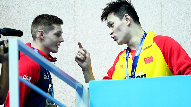 Sun Yang, pictured here getting in Duncan Scott's face at the 2019 FINA World Championships.