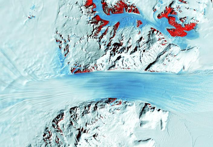 Long lines are formed by the glacier's flow