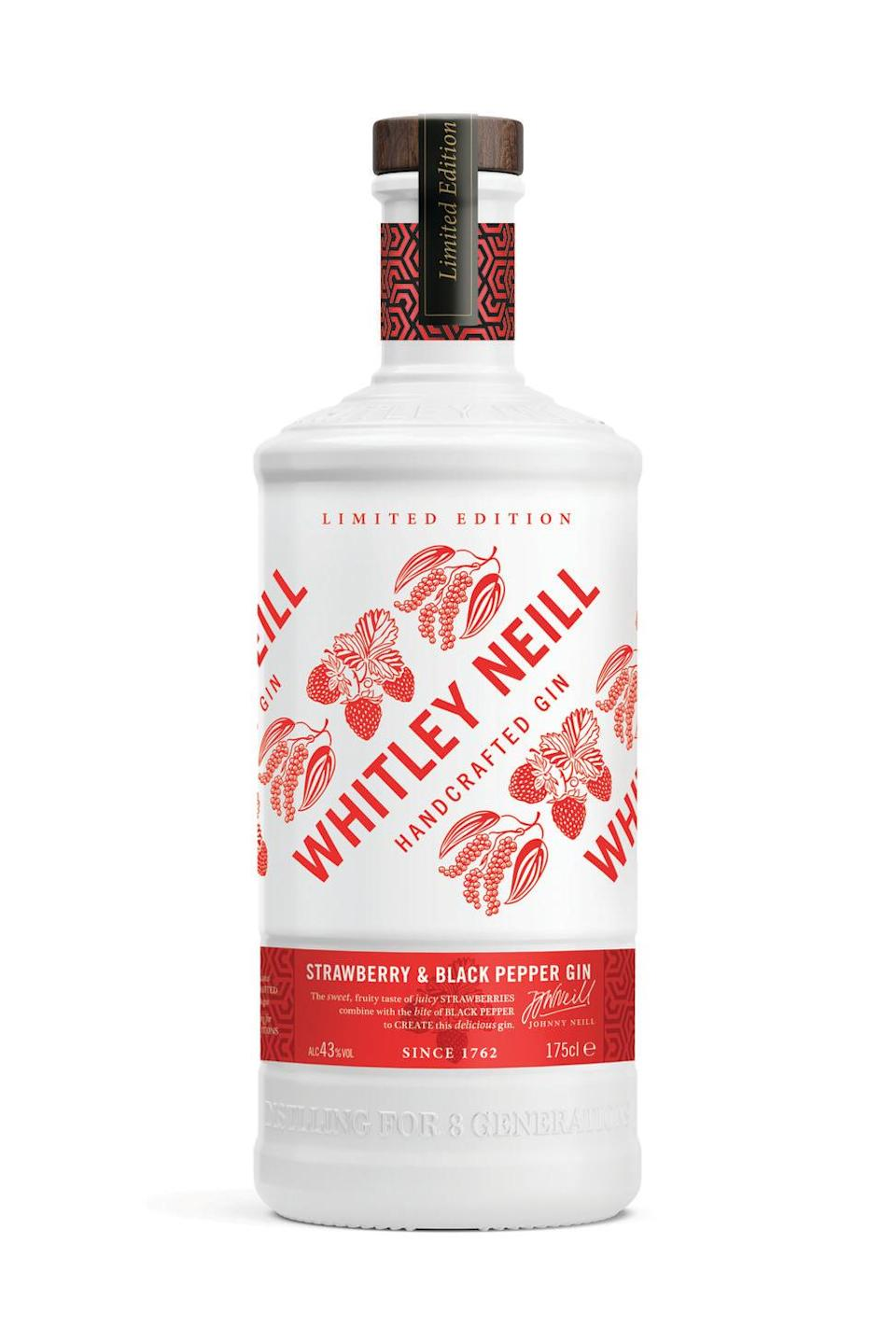 """<p>In this gin, you get a sweetness from the berries paired with a subtle kick of black pepper, which creates a surprising and absolute winning combination. It's described as the """"ideal garden drink"""" and goes perfectly with a delicious elderflower tonic and garnished with ripe, fresh strawberries.</p><p><strong>The Bottle Club, £24.49</strong></p><p><a class=""""link rapid-noclick-resp"""" href=""""https://go.redirectingat.com?id=127X1599956&url=https%3A%2F%2Fwww.thebottleclub.com%2Fpages%2Fwhitleyneill&sref=https%3A%2F%2Fwww.delish.com%2Fuk%2Fcocktails-drinks%2Fg29069585%2Fflavoured-gin%2F"""" rel=""""nofollow noopener"""" target=""""_blank"""" data-ylk=""""slk:PRE-ORDER NOW"""">PRE-ORDER NOW</a></p>"""