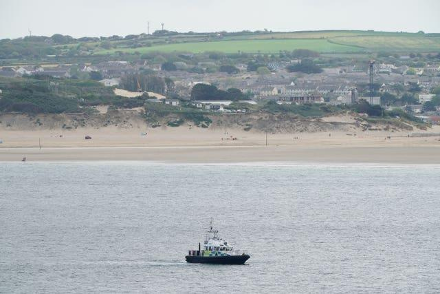 A police patrol boat at Carbis Bay, Cornwall, ahead of the G7 summit  (Aaron Chown/PA)