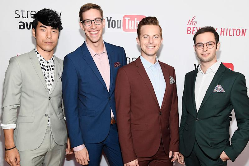 The Try Guys attends the 6th annual Streamy Awards hosted by King Bach and live streamed on YouTube at The Beverly Hilton Hotel on October 4, 2016 in Beverly Hills, California. (PHOTO: Frazer Harrison/Getty Images)