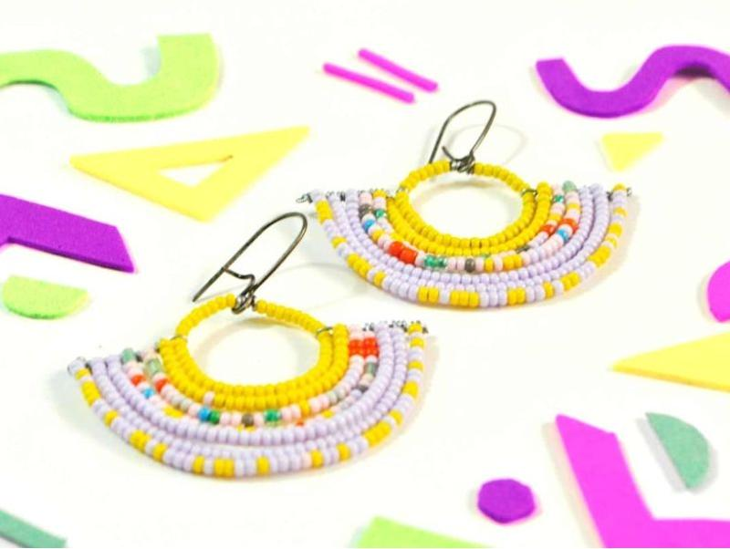 "Local Color's Illinois-based Etsy shop designs original and handmade beaded, textile and resin jewelry. Shop this <a href=""https://fave.co/2A2vamu"" target=""_blank"" rel=""noopener noreferrer"">colorful geometric beaded fan earrings for $24</a> at <a href=""https://fave.co/3791qR6"" target=""_blank"" rel=""noopener noreferrer"">Local Color on Etsy</a>."