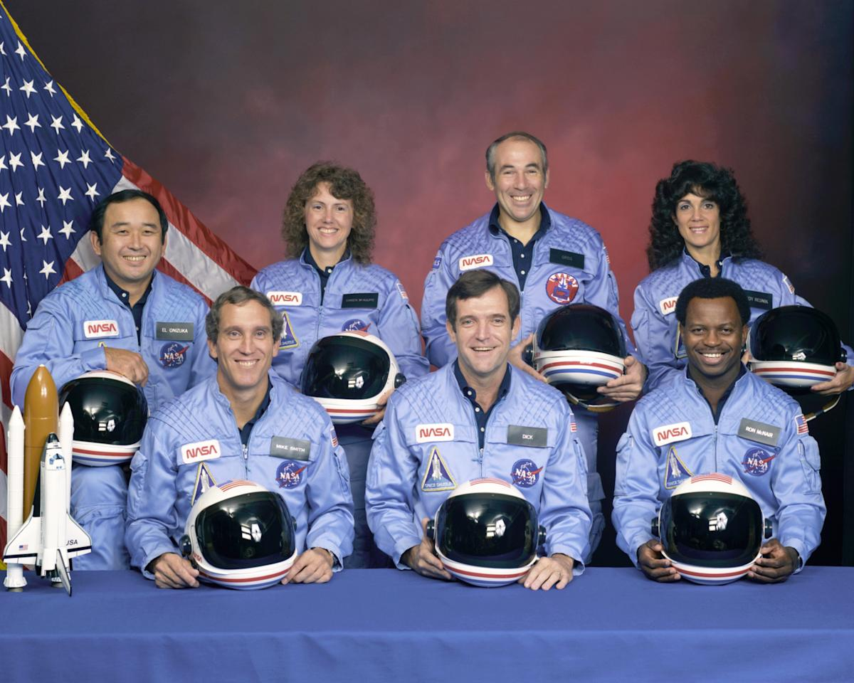 NASA's Space Shuttle Challenger (STS-51L) crewmembers are seen in this undated handout photo taken at Johnson Space Center in Houston, Texas.  Left to right: Mission Specialist Ellison S. Onizuka, Pilot Mike Smith, Teacher in Space Christa McAuliffe, Commander Dick Scobee, Payload Specialist Greg Jarvis, Mission Specialist Ron McNair and Mission Specialist Judy Resnik.
