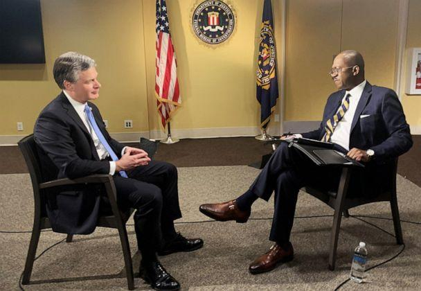 PHOTO: FBI Director Christopher Wray speaks with ABC News' Chief Justice Correspondent Pierre Thomas in an exclusive interview on Dec. 9, 2019. (Luke Barr/ABC News)