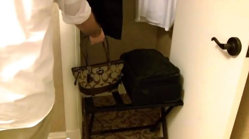 luggage rack in a hotel room