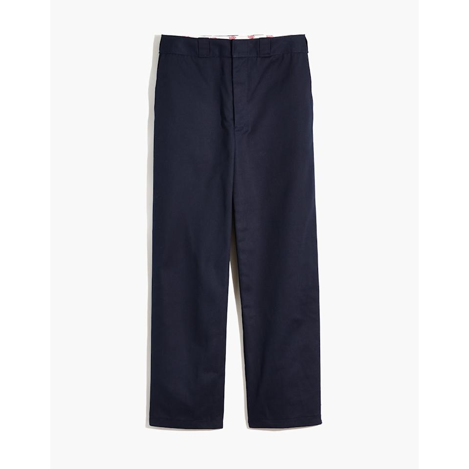 """<p>A nod to all the Dickies pants we wore growing up, few things are as nostalgic or as cute as these navy trousers.</p> <p><strong>To buy: </strong>$78; <a href=""""http://www.anrdoezrs.net/links/7876406/type/dlg/sid/RS%2CEverythingYou%25E2%2580%2599llWanttoBuyFromtheNewMadewellxDickiesCollab%2Cjdavidson805%2CSTY%2CIMA%2C675455%2C201909%2CI/https://www.madewell.com/on/demandware.store/Sites-madewellUS-Site/en_US/Product-Multisell?externalProductCodes=AC245,G9179,AA505,03957,AA184&source=multisell"""" target=""""_blank"""">madewell.com</a></p>"""