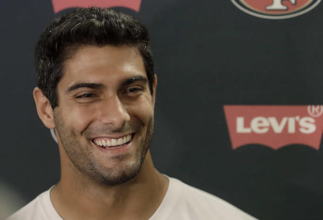 San Francisco 49ers quarterback Jimmy Garoppolo said he told himself he was better Tom Brady when the two were teammates in New England. (AP)